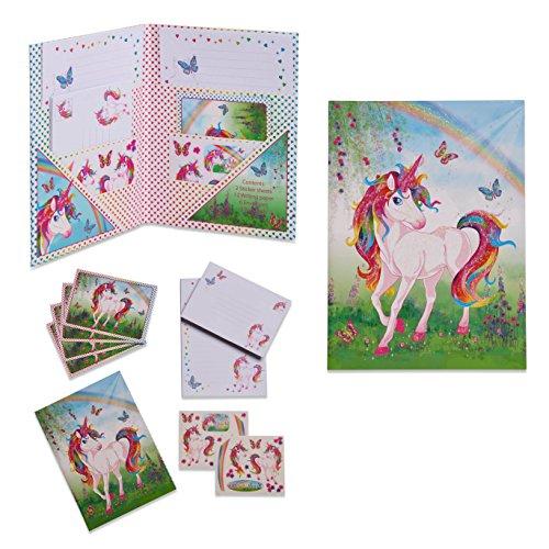Lucy Locket - Papier à Lettres Licorne Magique pour Enfants (Set Papterie : Papier à Lettres, Enveloppes et Cartes Postales Roses