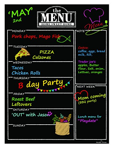 "Magnetic Refrigerator Chalkboard Dry Erase Weekly Menu Meal Planner Organizer Note Area for Shopping List Fitness Diabetic Meal Prep Planning One Calendar Week 12"" X 16"" Fridge Black Fluorescent Board"
