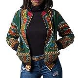 IMJONO Veste décontractée Femme Dashiki Manches Longues Dashiki imprimé Africain à la Mode Blouson Moto Femme Mànteau Automne(Vert,XL