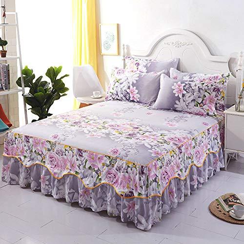 DOUJIAO Bettlaken + 2 Stück Set Kissenbezug 2020 Neue Dekoration Heimtextilien Bettwäsche Bettdecke Flachbettlaken Blumenbeet Bettlaken180*200cm+40cm(71 * 79+16inch)