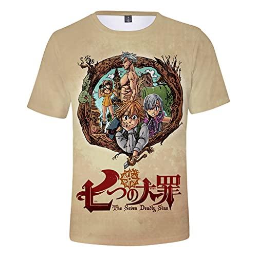 Camiseta masculina The Seven Deadly Sins Anime Meliodas, camiseta com estampa 3D, manga curta casual para meninos, A, P