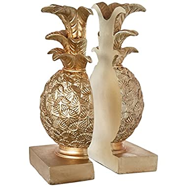 Creative Co-op DA7076 Resin Pineapple Bookends with Gold Finish