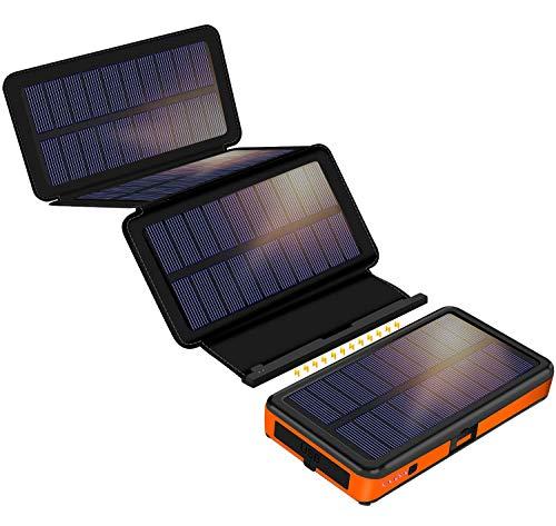 Solar Powerbank 25000mAh, F.Dorla Solar Ladegerät mit 4 abnehmbaren Solar Panels, 2 Eingänge &2 Ausgänge 2.1A, LED-Taschenlampe, wasserdichte Powerbank Solar für Outdoor Aktivitäten