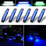 Botepon 6Pcs Led Rock Lights, Strip Lights, Wheel Well Lights, Led Underglow Kit for Golf Cart, Jeep Wrangler, RZR, Offroad, F150, F250, Snowmobile (Blue)