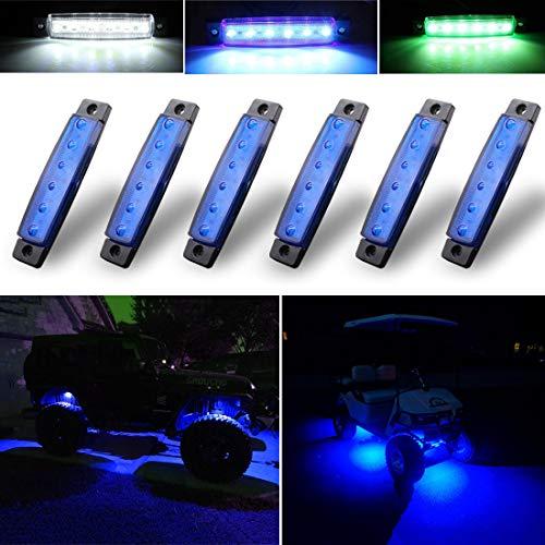Botepon 6Pcs Led Rock Lights, Fender Wheel Well Lights, Led Underglow Kit for Golf Cart, Truck, Jeep Wrangler, RZR, Offroad, F150, F250, Snowmobile (Blue)