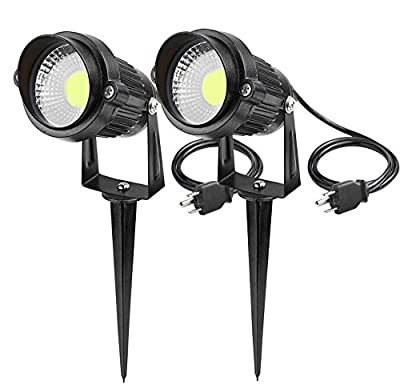 Lemonbest High Power Outdoor Decorative Lamp Lighting 5W COB LED Landscape Garden Wall Yard Path Light Warm Cool White DC 12V w/ Spiked Stand, Pack of 2