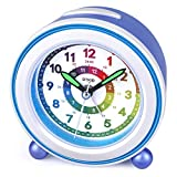 DTKID Wecker,Analoger Wecker Kinder, Kompakt Nicht Tickendes Bett Reise Silent Wecker mit Lautem Alarm, Nachtlicht, Snooze, Batteriebetriebene Weckuhr (Blau)