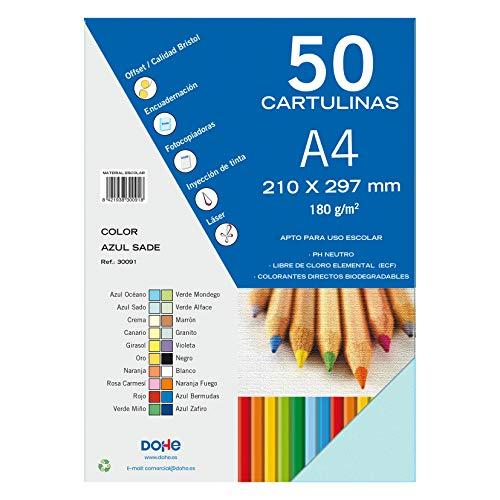 Dohe 30091 - Pack de 50 cartulinas, A4, color azul sado