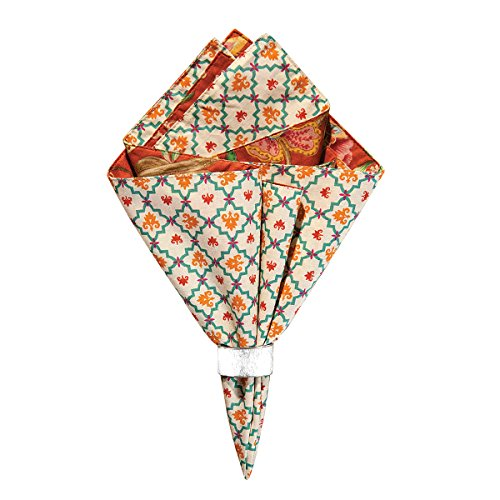 C&F Home Adele Orange Jacobean Reversible Cotton Machine Washable Single Napkin 20x20 Napkin Orange