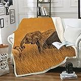Holteez Kuscheldecke, Dschungel Tiere Elefanten 150X200 cm Flachdecke, Extra Weiche Und Warme Sofa-/Couchdecke, Mikrofaser-Fleecedecke, Tagesdecke