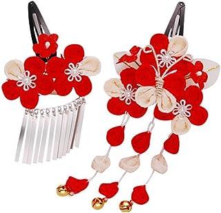 七五三 髪飾り 2点セット つまみ細工 赤 レッド 成人式 浴衣 卒業式 結婚式 かんざし 簪 髪かざり ゆかた 浴衣 通販