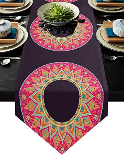 COMMER Camino de mesa, diseño étnico de mandala, para decoración de mesa de boda, ceremonia de graduación, banquete (33 x 228 cm), geometría de tribu floral