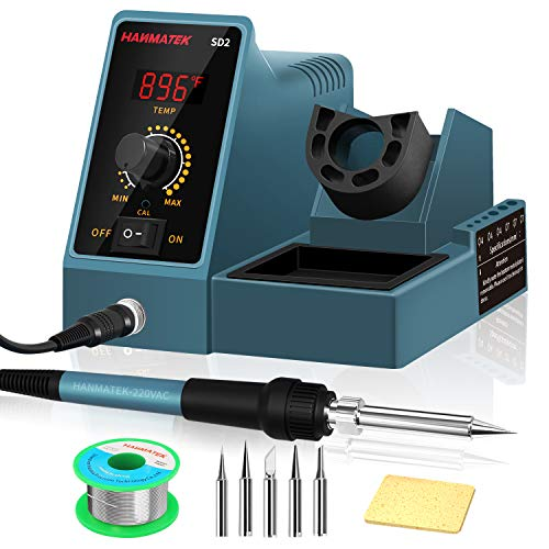 Soldering Station With Additional 5 Tips Digital Display Soldering Iron Station 392℉-896℉ Temperature Adjustable Better Soldering Iron Soldering Kit with Solder Bracket SD2