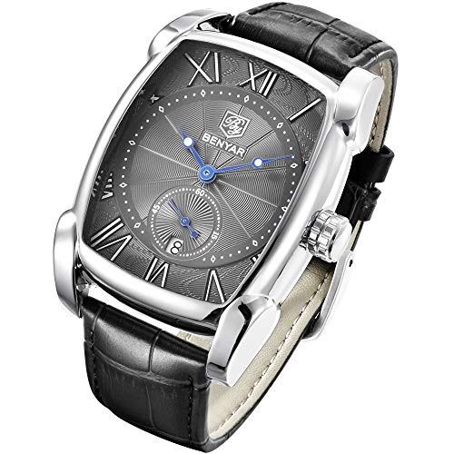 BENYAR Watch for Men 5114M Square 3ATM Waterproof Leather Simple Quartz Business Fashion Casual Classic Retro Rectangle Watches