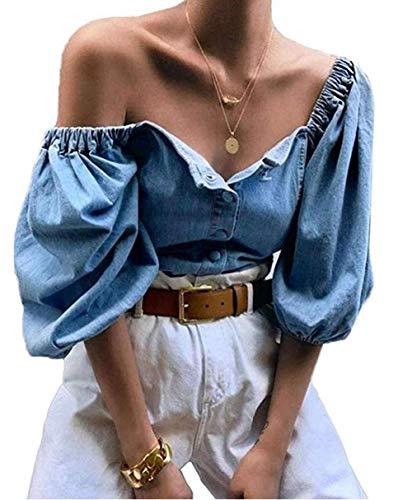 CHRONSTYLE Frauen Sexy Schulterfrei Denim Bluse Tops Laterne Langarm Elastisches Stretch-Crop-Top mit geknöpften Knöpfen (blau, L)