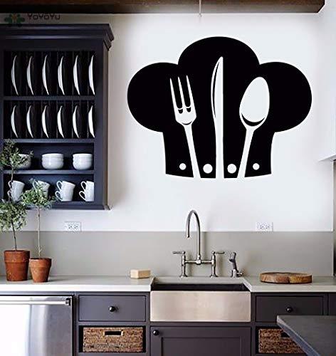 Njuxcnhg Wandtattoo Küche Wandaufkleber Vinyl Kochmütze Muster Restaurant Wohnkultur Innenzubehör Art Design Mura 74X57CM