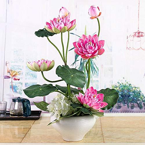 xgruisi Flores Artificiales Lotus Lotus Buddha En El Bote Ramo De Decoración para El Hogar con Una...