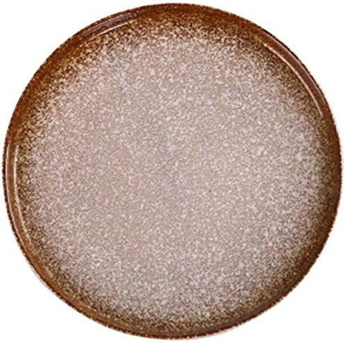GZA Service de Plaque de DîNer Modern Plate Brown Ronde Plat Plate Japonaise Arts De La Table Verte Home Plate Set Assiette De Fruits Assiette Plate Pâtes Parfait pour la Cuisine Familiale