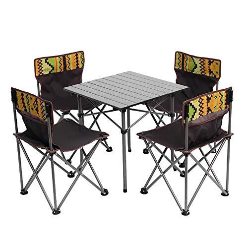 Outdoor klaptafel en stoelen set, 5 stks Camping Tafel Stoelen Set Vouwen Camping Tafelstoelen Outdoor Camp Tafelstoel Set voor Picnics Strand Wandelen Vissen| Camping Tafel + 4 Stoelen + Draagtas