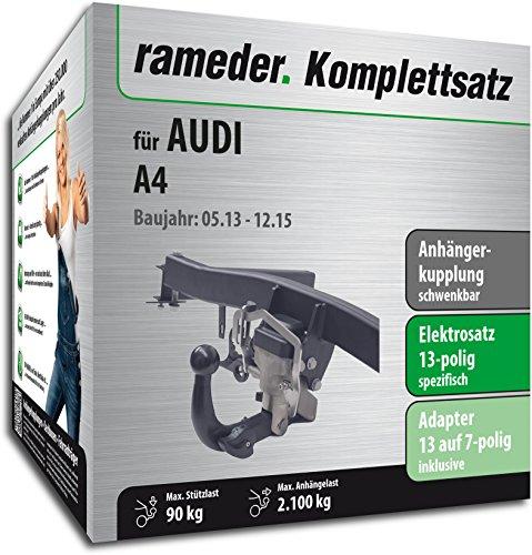 Rameder Juego completo, enganche de remolque orientable + 13 polos eléctricos para Audi A4 (112736-06418-4)
