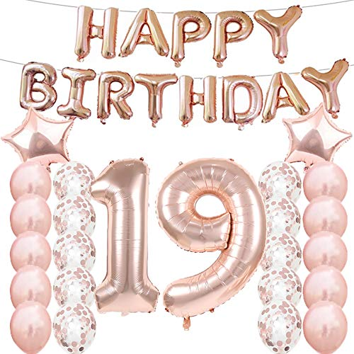 19th Birthday Decorations Party Supplies,19th Birthday Balloons Rose Gold,Number 19 Mylar Balloon,Latex Balloon Decoration,Great Sweet 19th Birthday Gifts for Girls,Photo Props