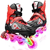 Kids Inline Skates with Illuminating Light Up Wheels,Inline Roller Skates Adjustable with ABEC 7 carbon bearing,Roller Blades for Boys Girls Beginners Children Teens Adults(Red-Black, M)