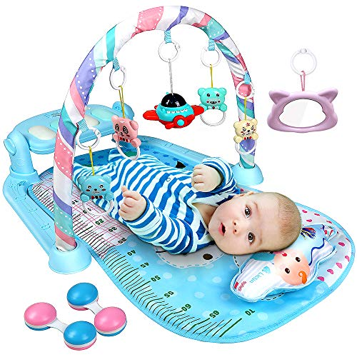 Lictin Baby Play Gym, Kick & Play Piano Activity Mat and Fitness Activity Gym for Infants and Toddlers, 3 in 1 Baby Toys with Music Story Machine, Blue