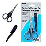 Men's Beard & Mustache Scissors and Mini Comb Trimming Kit ~ Facial Hair Scissors and Comb (Mens Grooming Kit)