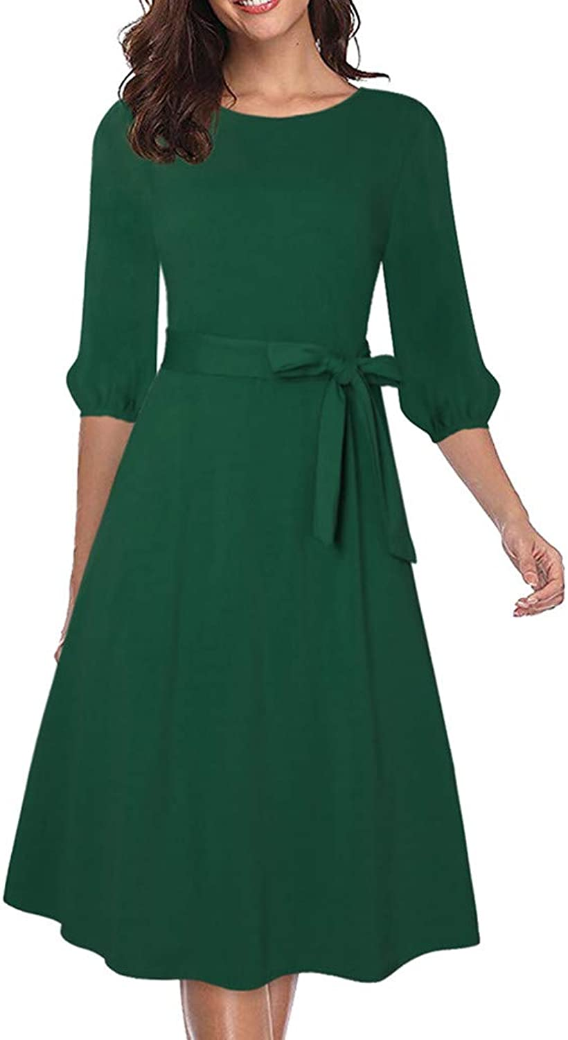 Ximandi Women's Solid O Neck Short Sleeve Casual Swing Midi Dress with Belt