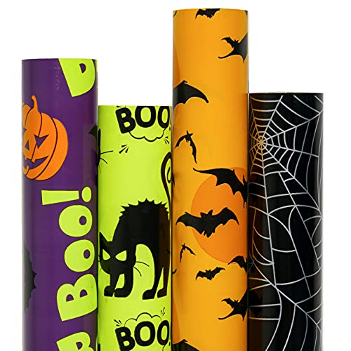 RUSPEPA Gift Wrapping Paper Rolls - Colorful Halloween Wrap Design - 4 Rolls - 30 inches x 10 feet per Roll