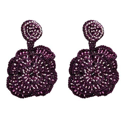 Hellery Pendientes para Mujer Estilo Boho con Cuentas de Cristal Flor Color de Rosa Joya Grande Cuelga Gota - Púrpura