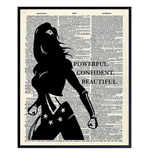 Powerful Confident Beautiful Woman Dictionary Art, Home Decor - Inspirational Wall Art Print, Poster - Gift for Superheroes, Comic Book Fan, Women - 8x10 Unframed Motivational Girls Room Decoration