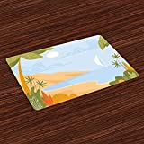 Palms Place Mats Set of 4, Tropical Island Ocean Coastal Graphic Scenery Summer Exotic Landscape Placemat Rectangle Placemats Heat Resistant Table Mats For Cafe