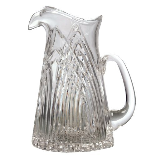 GAC Mouth Blown Crystal Glass Water Pitcher with Spout and Handle 32oz Glass Serving Pitcher Stunning Hand Cut Design