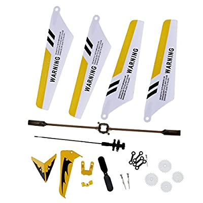 Wadoy Full Replacement Parts Set for Syma S107 / S107G RC Helicopter, Main Blades,Tail Decorations,Tail blade,Balance Bar,Connect Buckle, Inner Shaft. Yellow Set-