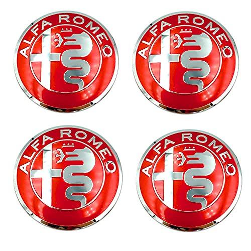 WXFN 4 Piezas Coche Tapas centrales Centro Tapacubos Tapas con Logo, para Alfa Romeo Giulietta Spider GT Giulia Mito 147 156 159 Accesorios Decorativo Automóvil