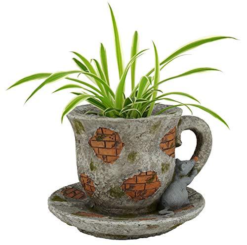 Pflanztopf Tasse Gartenfigur dekorativ Innen- & Außenbereich Stein-Optik