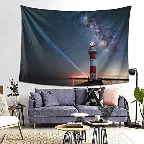 PATINISA Tapiz de Regalo,Faro Azul Cielo Estrellado Océano Mar Rojo Amarillo Luz de la lámpara Paisaje,Tapiz Bohemio diseño para Colgar en la Pared,Sala de Estar Dormitorio 80x60in