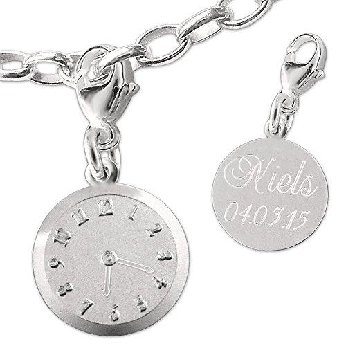 Clever sieradenset met gravure: Zilveren damesarmband met een zilveren bedel geboortehorloge inclusief gravure van naam, datum, wijzer sterling zilver 925 met bedelarmband in etui
