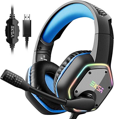 EKSA E1000 USB Gaming Headset PC Kopfhörer mit 7,1 Surround Sound 50MM Treiber für Laptop Mac Tablet (Blau)