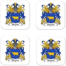 Vaccaro Family Crest Square Coasters Coat of Arms Coasters - Set of 4