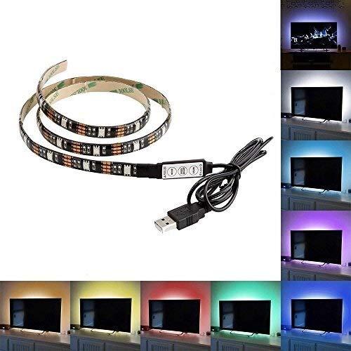 H/A (TM) 1m 3FT 3 Offset LED Lighting 5V USB Powered LED Strip TV Backlight Multicolor RGB Light for Flat Panel TV LCD, Desktop Computer Display, Home Theater, Cabinet MENGN