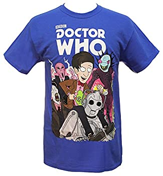 Doctor Who Mens 11th Doctor s Monsters and Villains Licensed T-Shirt  X-Large  Royal Blue