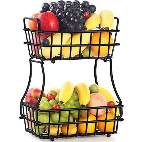 TomCare 2-Tier Fruit Basket Metal Fruit Bowl Bread Baskets Detachable Fruit Holder Kitchen Storage Baskets Stand - Screws Free Design for Fruits Breads Vegetables Snacks, Black