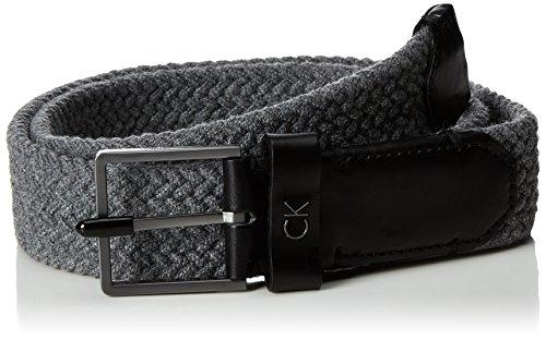 Calvin Klein Leon Elastic Wool Be 90 Cinturón, Gris (Steel Grey 002),...