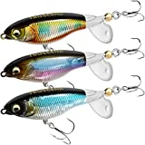 TRUSCEND Topwater Fishing Lures, Plopping Minnow with Floating Rotating Tail, Artificial Hard baits, Topwater Floating Swimbait, Lifelike Crankbaits Lures for Bass Trout Crappie Pike Fishing Lure Kit
