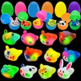 Pre-filled Easter Eggs with Light-Up Rings (12 Pcs), Assorted Animal LED Rings, Jelly Ring Toys for Kids Easter Eggs Hunt, Easter Basket Stuffers, Basket Filler, Easter Party Favor, Classroom Prize Supplies