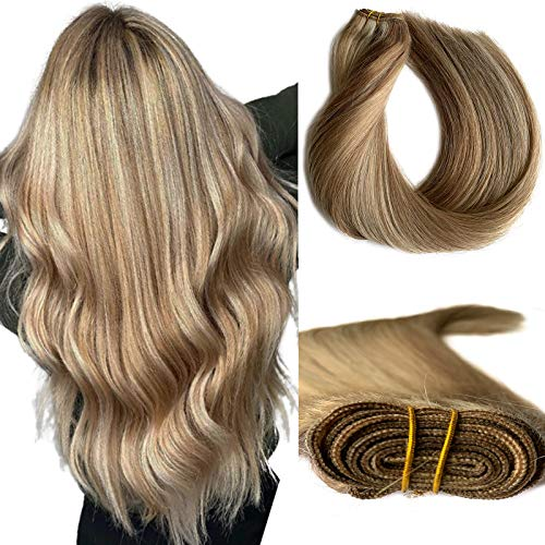 Sew-in Human Hair Extensions Ash Brown with Blonde Balayage Remy Hair Bundles Straight 24 Inch 120grams Highlights Hair Wefts for Full Head