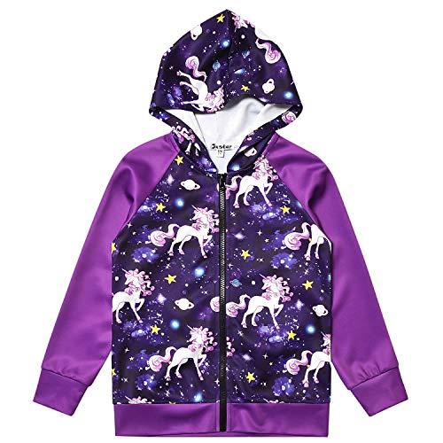 Jxstar Sudadera raglán con capucha y cremallera para niñas, diseño de gato y unicornio, con bolsillos - morado - 10-11 años
