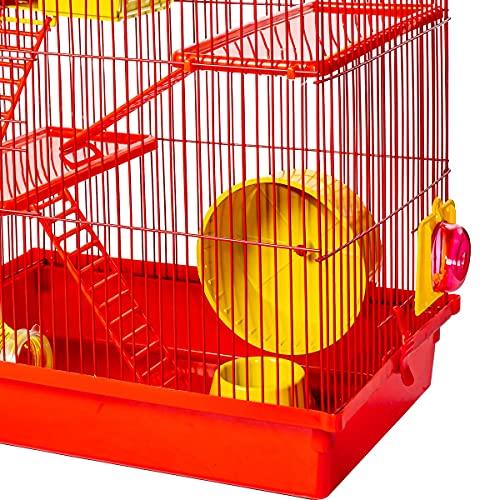 Gaiola Hamster Super Luxo Labirinto 3 Andares Vermelha